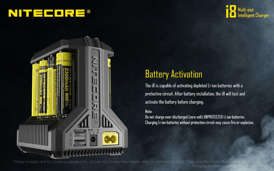 Nitecore Kellék Akkumulátor Töltő i8