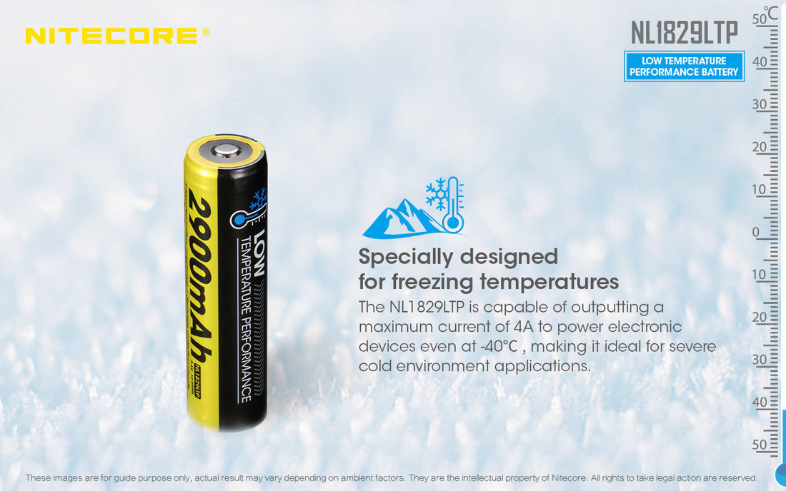 Nitecore Kellék Akkumulátor NL1829LTP 18650 2900mAh (-40°C)